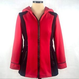 Susan Graver Red/ Black Hooded Zipper Jacket Sz S